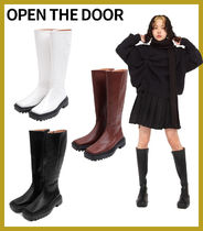 【OPEN THE DOOR】square shpae long boots (3 color)★安全発送