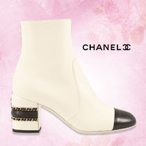"""CHANEL直営店購入★チェーン★""""STACKED CHAIN"""" レザーブーティ"""