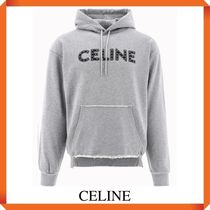 CELINE LOOSE COTTON SWEATSHIRT WITH STUDS