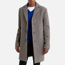 La Redoute Wool Mix Straight Coat in Houndstooth Check