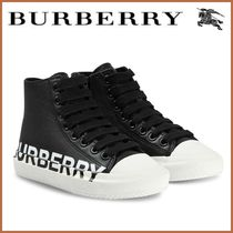 Kids♪ 人気  ☆BURBERRY☆ Leather Hi-Top Lace Up Sneakers
