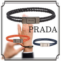 PRADA☆ Braided Nappa Leather Bracelet Black/Papaya/Brute