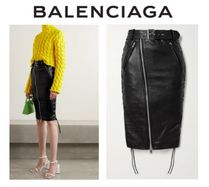 BALENCIAGA☆Belted lace-up leather and stretch-jersey skirt