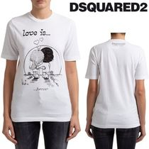 DSQUARED LOVE IS PRINT COTTON T-SHIRT ホワイト VIPセール