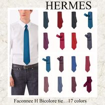☆HERMES☆100%シルク Faconnee Hロゴ付き ネクタイ