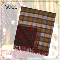 *GUCCI * ALL OVER GG&TARTANTHROW ブランケット
