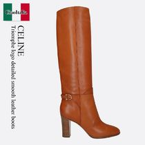 Celine Triomphe logo detailed smooth leather boots