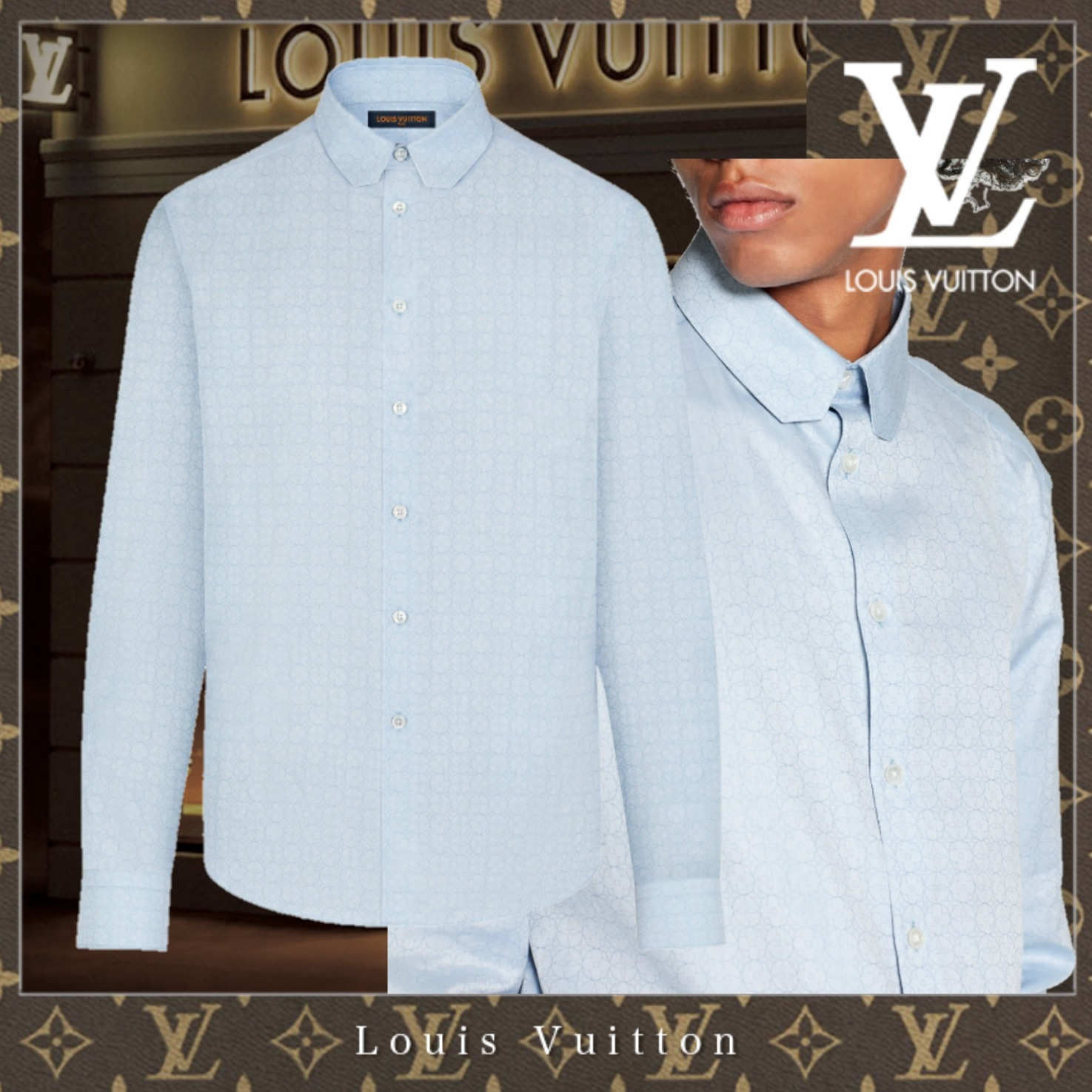 21SS【直営買付】Louis Vuitton ロングスリーブDNAシャツ☆新作 (Louis Vuitton/シャツ) 1A8HLQ  1A8HLR  1A8HLS