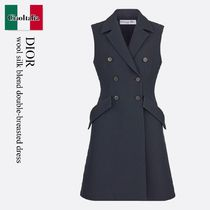 Dior wool silk blend double-breasted dress