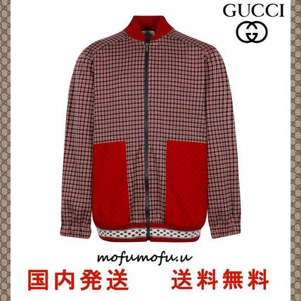 SALE★GUCCI★Houndstooth Print Varsity ジャケット 大人もOK