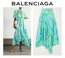 BALENCIAGA☆Belted asymmetric pleated 花柄 crepe midi skirt