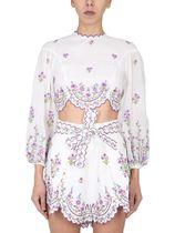 ZIMMERMANN☆LINEN TOP WITH EMBROIDERED POPPY