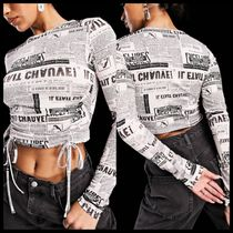 ASYOU long sleeve ruched top in newspaper print