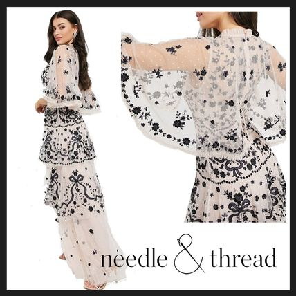 ★送料込★【Needle & Thread】contrast bow lace maxi dress