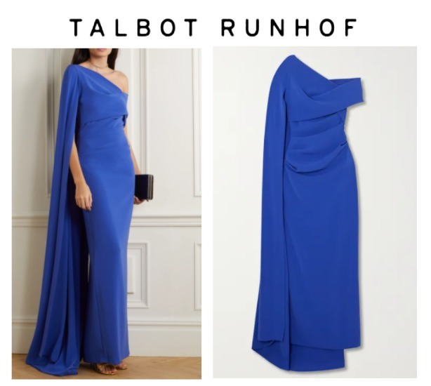TALBOT RUNHOF☆Rosedale draped cape-effect crepe gown (ワンピース) 63421334
