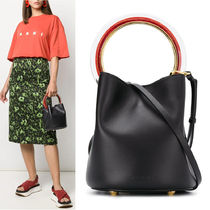 MARNI PANNIER BAG IN CALF LEATHER WITH DESIGN HANDLE