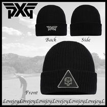 PXG ◇ スカル ロゴ DARKNESS TRIANGLE KNIT BEANIE ニット帽