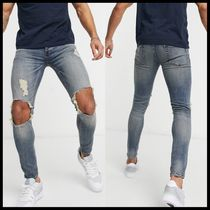 ASOS Topman spray on jeans with blowout rips