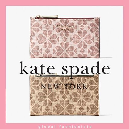kate spade flower coated canvas small slim bifold wallet財布