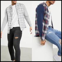 SikSilk flannel check grandad collar shirt with contrast arm