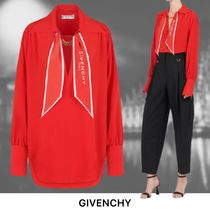 【GIVENCHY】レッド クレープデシン ロングスリーブブラウス