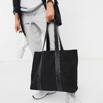 ASOS DESIGN canvas tote bag with PU straps in black