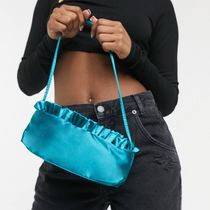 ASOS DESIGN satin shoulder bag with frill edge in teal