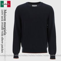 Maison margiela crew neck sweater with elbow patches