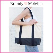 新作♪☆Brandy Melville☆ NAVY BLUE BEIGE TOTE BAG