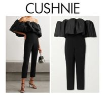 CUSHNIE☆Off-the-shoulder stretch-crepe and taffeta jumpsuit