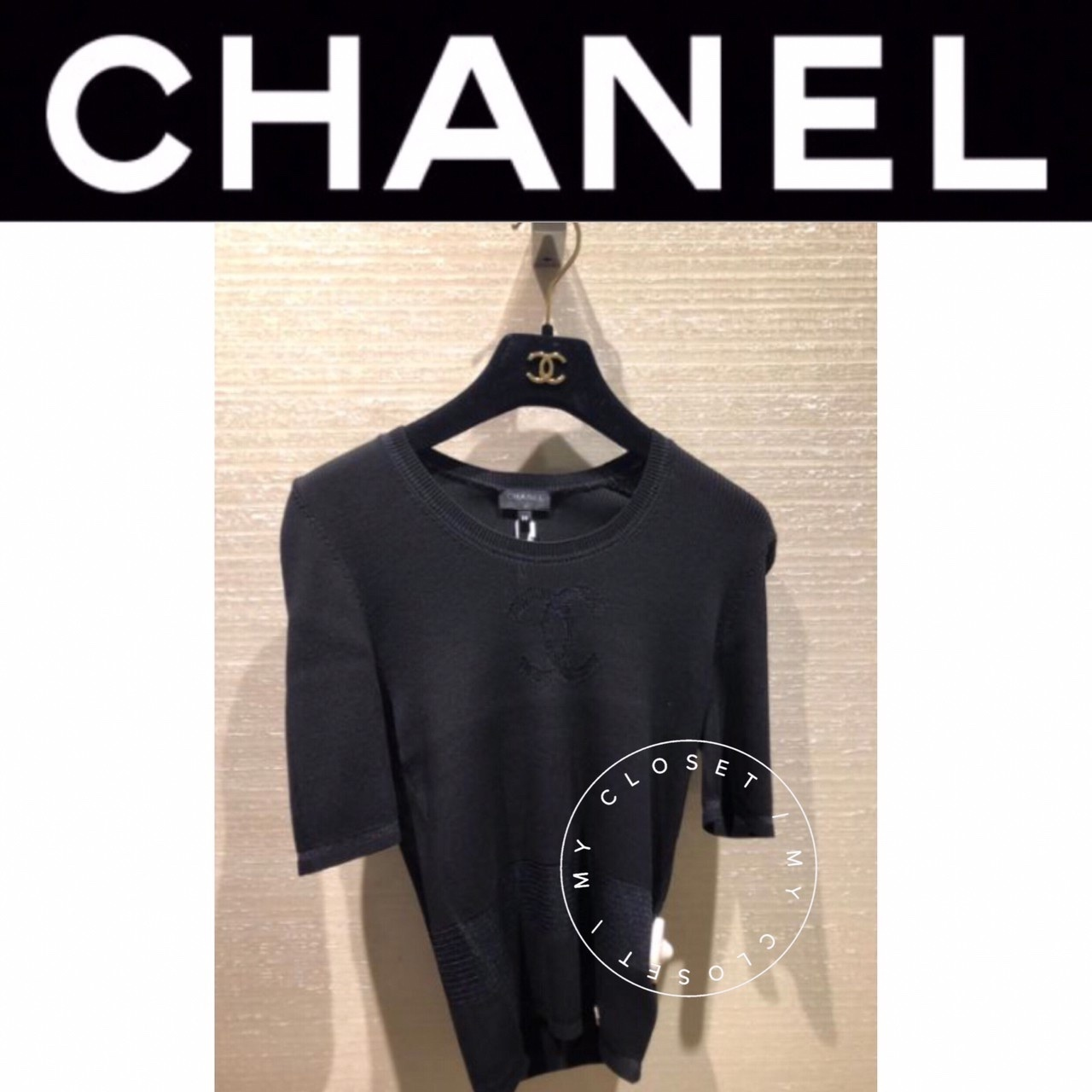 CHANEL トップス シャツ カットソー 半袖  新作 限定 直営 黒 CC (CHANEL/Tシャツ・カットソー) 63527909