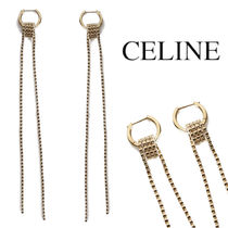CELINE Le Soir Swirl Long Earrings in Gold Brass & Crystals