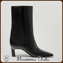 MassimoDutti♪LEATHER MID-HEEL ANKLE BOOTS WITH SQUARE TOE