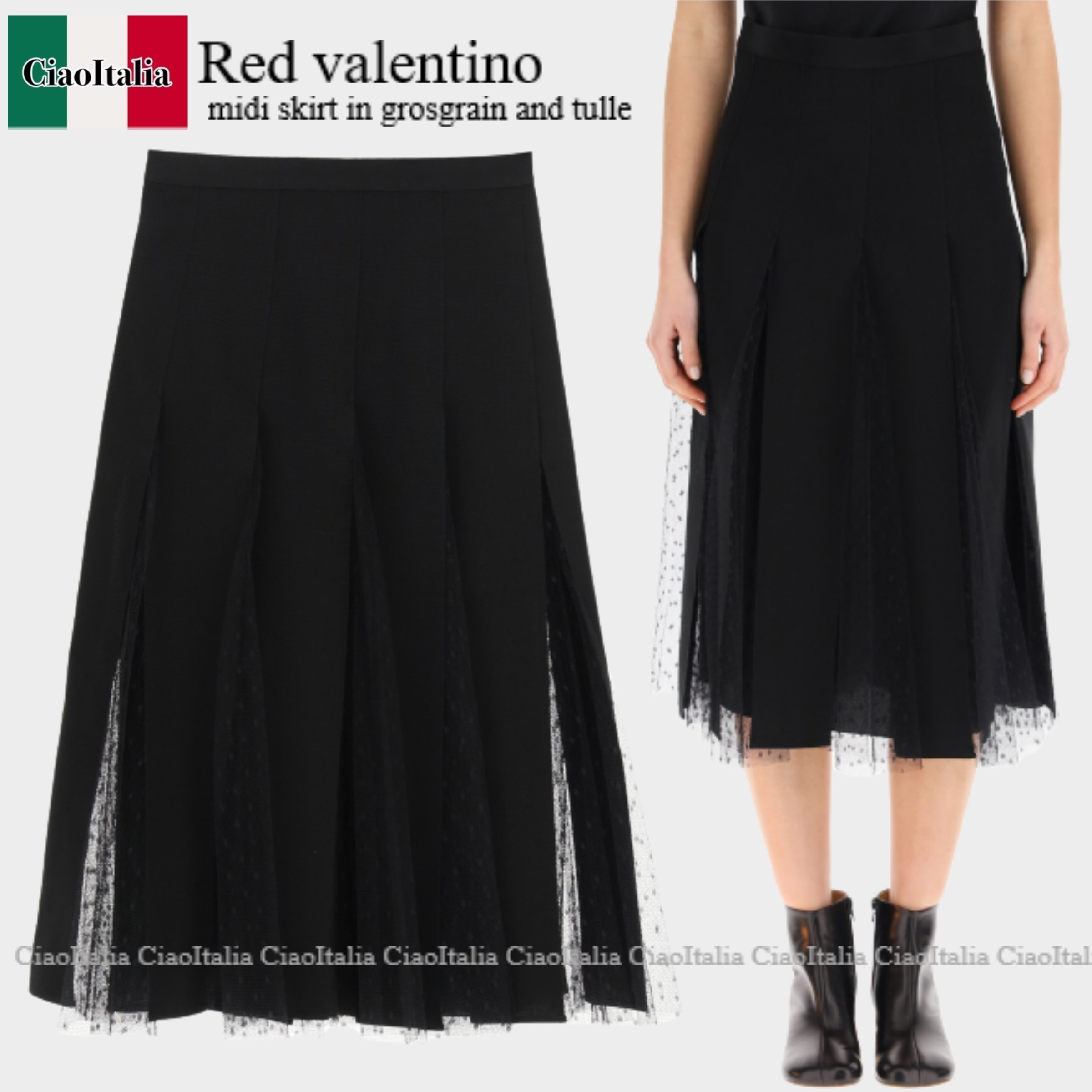 Red valentino midi skirt in grosgrain and tulle (RED VALENTINO/スカート) RED VALENTINO MIDI SKIRT IN GROSGRAIN AN  VR3RAF701GK  VR3RAF701GK 0NO
