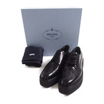 PRADA::BRUSHED LEATHER FLATFORM DERBY SHOES:38[RESALE]