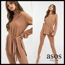 【ASOS】Femme Luxe リブ編み ルームウェアセット / camel