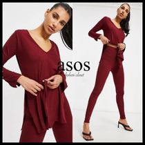 【ASOS】Femme Luxe リブ編み ルームウェアセット / burgandy