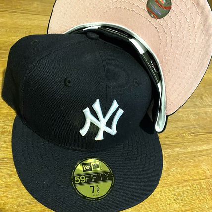 【7 5/8】PINK BRIM 在庫あり US NEW ERA FITTED CAP NAVY