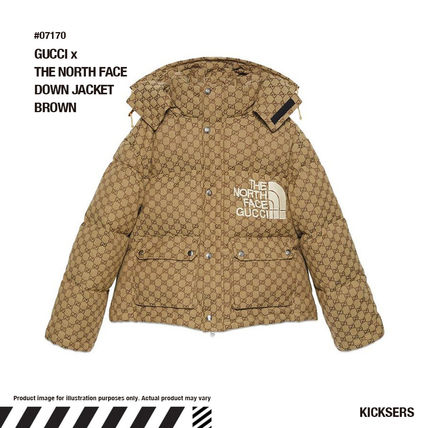 人気話題注目コラボ!GUCCI x THE NORTH FACE DOWN JACKET BROWN