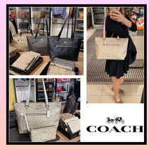 [COACH トートバッグ gallery tote in signature canvas