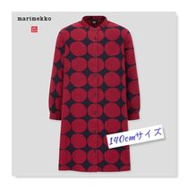 UNIQLO×Marimekko【GIRLS Flannel Long Sleeve Dress】赤・140