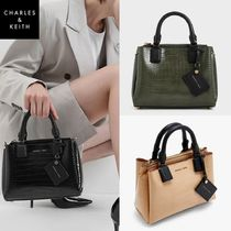 ★ Charles & Keith★CROCK EFFECT STRUCTURED BAG★2色