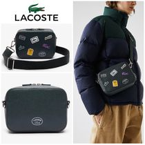 LACOSTE Croco Crew Badge Grained レザー ショルダーバッグ