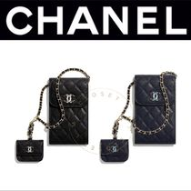 CHANEL スマホ Airpods ケース キャビア マト チェーン 直営 CC