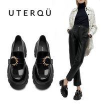 【Uterque】TRACK SOLE LOAFERS WITH RHINESTONE BUCKLE