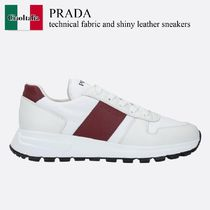 Prada technical fabric and shiny leather sneakers