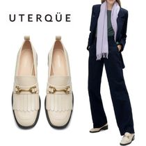 【Uterque】LEATHER HEELED LOAFERS WITH KILTIE DETAIL
