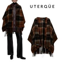 【Uterque】CHECK CAPE WITH REMOVABLE SCARF