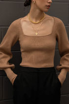 フェミニンライン【Oak + Fort】RIBBED SQUARE NECK SWEATER