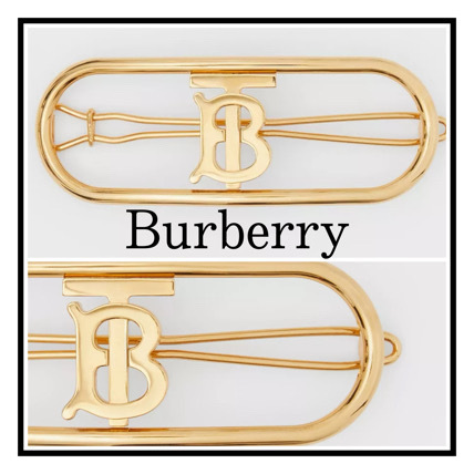 Burberry Gold-plated hair clip with monogram Thomas Burberry (Burberry/ヘアアクセサリー) 80342441